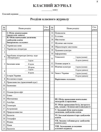 Класний журнал 5-11 класи