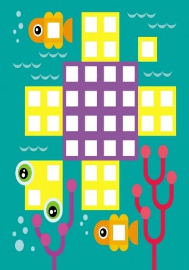Мозаїка з наліпок. Для дітей від 4 років. Квадратики
