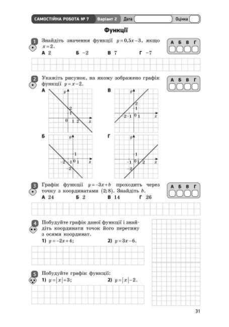 Алгебра. 7 клас. Зошит для контролю знань