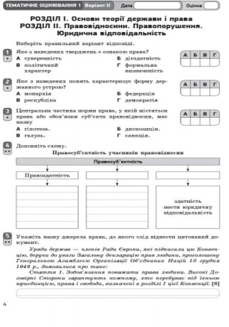 Основи правознавства. 9 клас: зошит для контролю навчальних досягнень учнів