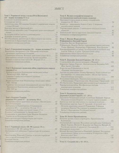 Історія України. Всесвітня історія. 8 клас. Тестовий контроль результатів навчання