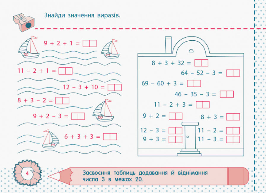 Точилка. Математика 2 клас. Рівень 2. Таблиці додавання та віднімання чисел