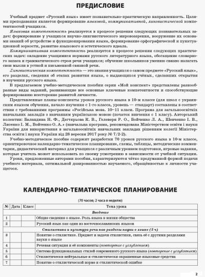 Русский язык. 10 класс. Для ОУЗ с украинским языком обучения (начало изучения с 1-го класса). Серия 'Мой конспект'