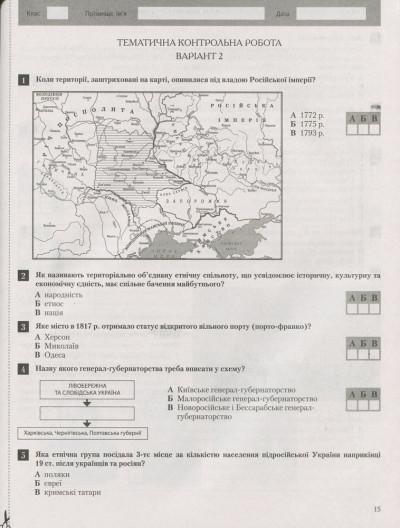 Історія України. Всесвітня історія. 9 клас. Тестовий контроль результатів навчання