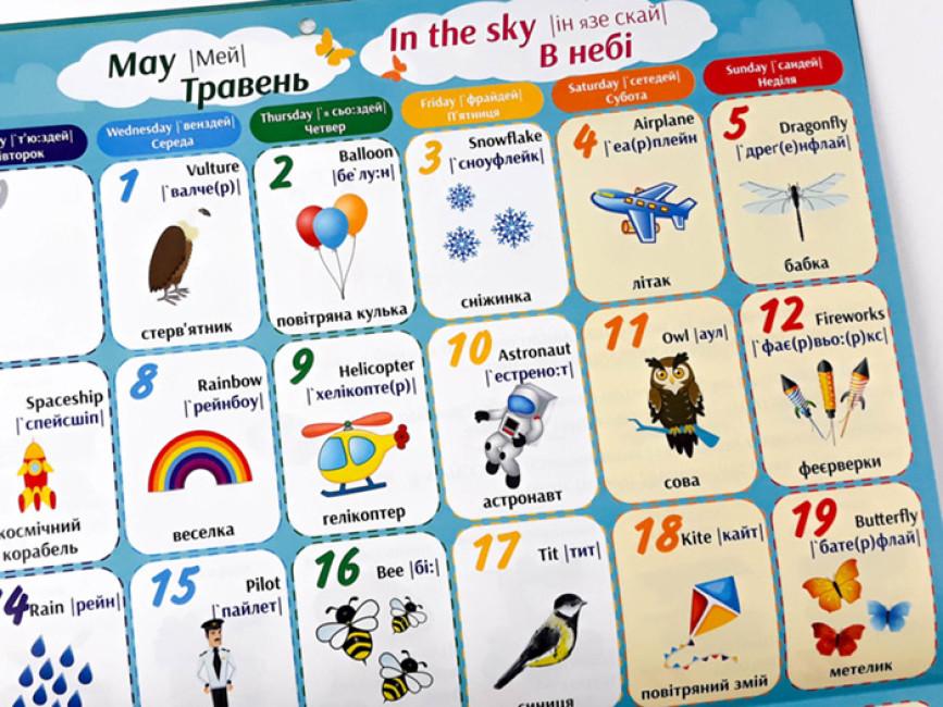 Англо-український дитячий календар-словник 2019