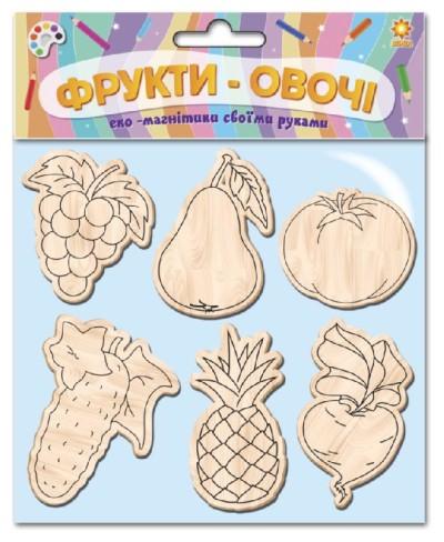 Дерев'яні іграшки-магніти «Фрукти-овочі»