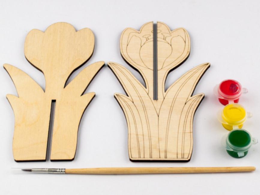 Дерев'яна розмальовка 3D. Крокус