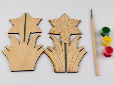 Дерев'яна розмальовка 3D. Нарцис