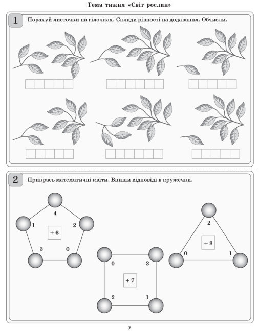 НУШ Диференційовані картки з математики. 1 клас. Частина 2