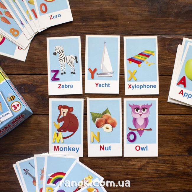Набір карток з малюнками. Вчимо англійську мову. Алфавіт та цифри