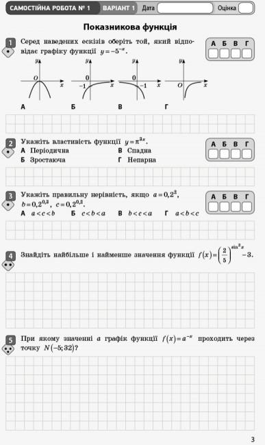 Математика. 11 клас. Рівень стандарту. Зошит для оцінювання результатів навчання. У 2 частинах. ЧАСТИНА 1. Алгебра і початки аналізу