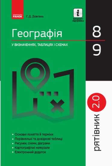 Рятівник 2.0. Географія у визначеннях, таблицях і схемах. 8 - 9 класи