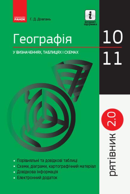 Рятівник 2.0. Географія у визначеннях, таблицях і схемах. 10—11 класи