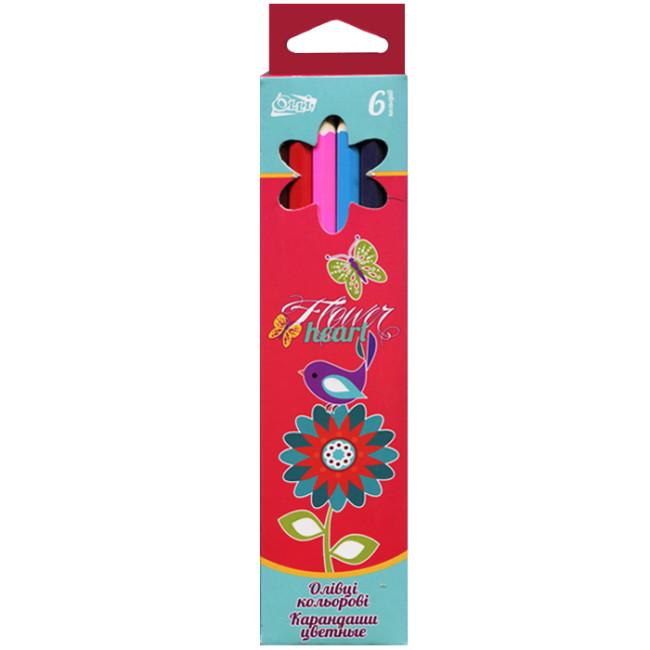 Набор цветных карандашей « Olli» «Flower heart» ( 6 цветов)