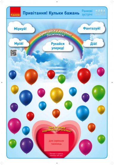 НУШ Ранкові зустрічі. Плакат. Привітання. Кульки бажань. 1-4 класи. Наочність нового покоління