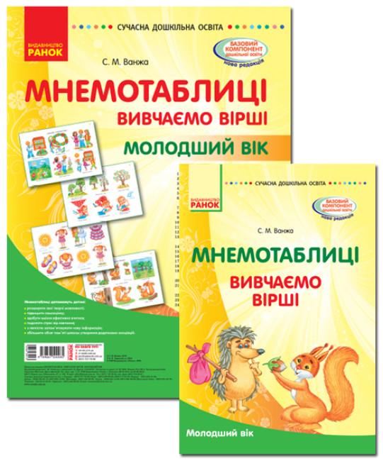 Комплект Сучасна дошкільна освіта: Мнемотаблиці. Вивчення віршів. Молодший вік. Плакати + методичка