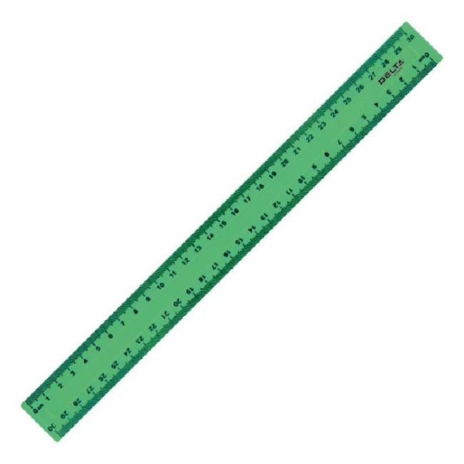 Лінійка пластикова «Delta» кольорова (30 см., зелена)